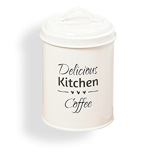 The Farmers Market DELICIOUS KITCHEN COFFEE, Canister, Triple Heart Graphic, Vintage Word Art Text, Galvanized White Metal, 7 1/8 Inches, By Whole House Worlds