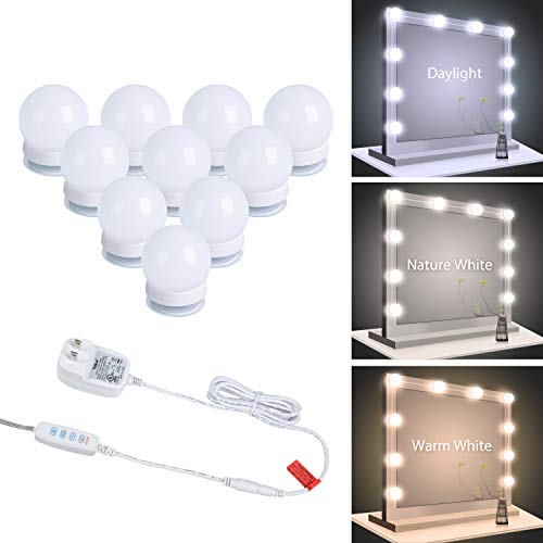 Vanity Lights for Mirror, 10 Pcs Led Mirror Lights 3 Lighting Colors and 10 Dimmable Bulbs, Hollywood Style Makeup…