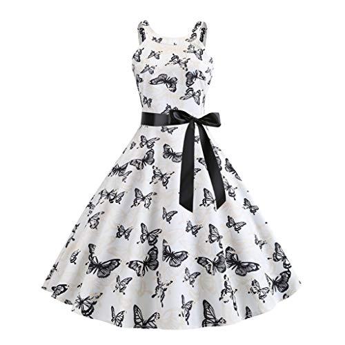 Dress Women's Vintage 1950s Retro Sleeveless Belt Print Evening Party Prom Swing Dress White]()