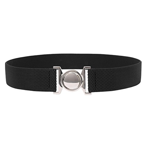 Lady Metal Stretch Cinch Belt Interlocking Round Buckle Black Size L CL010486-1