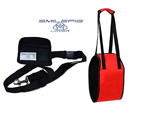 Smile Pig Lover Dog Lift support Harness with Handle and Adjustable Handlesh Help Lifts Older Dogs or Young Puppies for Injuries, Arthritis or Weak hind legs & Joints (M, Red)