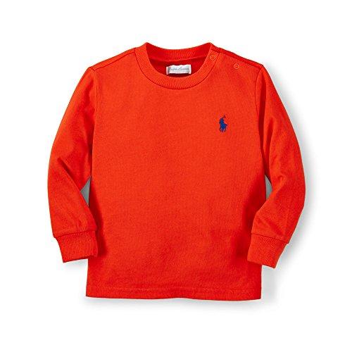 Ralph Lauren Baby Boys Cotton Long Sleeve Tee(3M,Bittersweet Orange)
