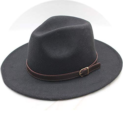 Men Women Wide Flat Brim Wool Felt Formal Party Jazz Trilby Fedora Hat with Belt Metal Unisex Top Sun Hat,Black -