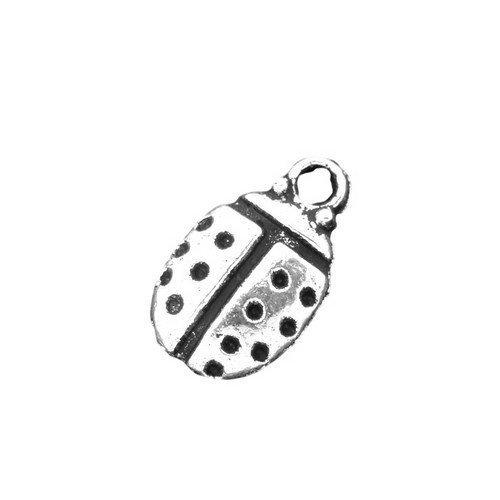 Paquet 20 x Argent Antique Tibétain 12mm Breloques Pendentif (Coccinelle) - (ZX03590) - Charming Beads