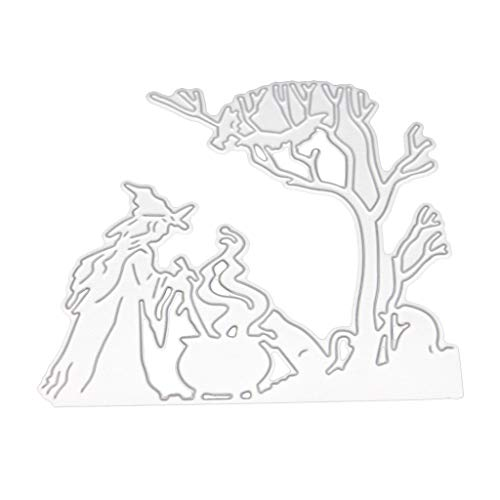 GUINV Cutting Dies Halloween Witch Metal Cutting Dies Stencil for DIY Scrapbooking Paper Card Embossing Craft Decor