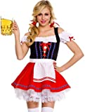 ToBeInStyle Women's 3 Piece Off Shoulder Bar Maiden Costume W/ Hair Bows & Thigh Hi - X-Large - Multicolored