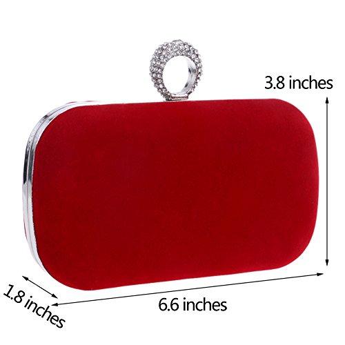 Pochette Sac Red Sac Clutch Soirée Main Bandouliere Fête Bal Mariage Bourse à Maquillage pour Femme Chaîne 4dqzZxwRH