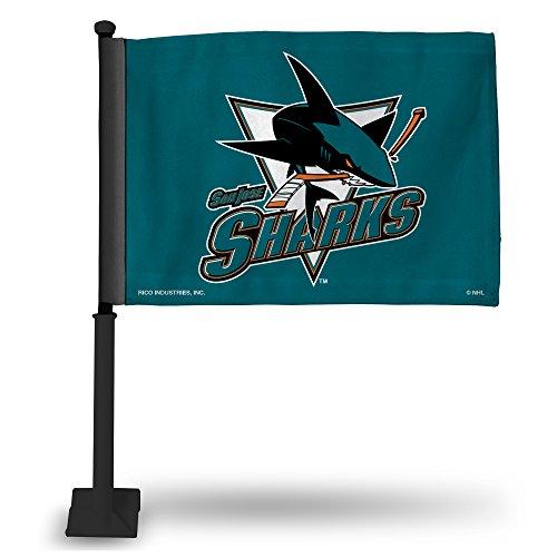 (Rico NHL San Jose Sharks Car Flag with Black Pole)