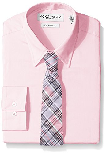 Nick Graham Everywhere Men's Solid Dress Shirt with Tie Set,
