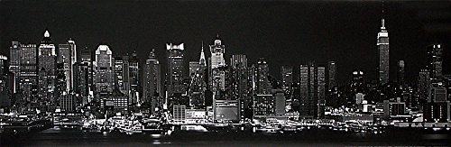 New York City Skyline at Night Black and White Panorama. Art Print Poster