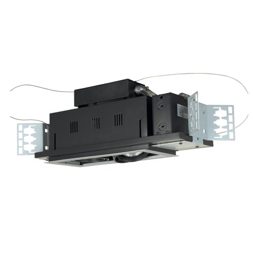 Jesco Lighting MGP20-2WB Modulinear Directional Lighting For New Construction, Double Gimbal PAR20 2-Light Linear, Black Interior With White Trim