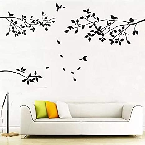 AIYANG Family Tree Rames Adhesivos de pared para pájaros pegatinas de pared hojas de decoración de pared para sala de estar dormitorio (color negro)