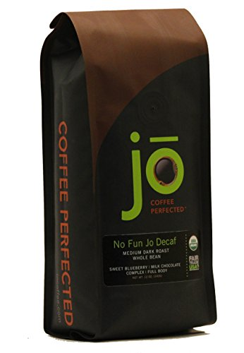 Fun Coffee - NO FUN JO DECAF: 12 oz, Organic Decaf Coffee, Swiss Water Process, Fair Trade Certified, Medium Dark Roast, Whole Bean Arabica Coffee, USDA Certified Organic, Chemical Free, Brewed or Decaf Espresso