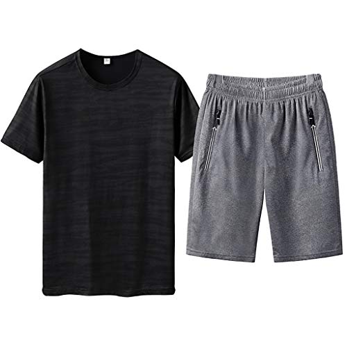 Men's Short Sleeve Jumpsuit Overalls Summer Leisure Fashion Printing Plus Size Shorts Sport Sets Black (Neff Belt Mens)