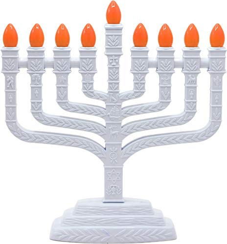 Aviv Judaica PRL-850 White Electric Knesset Menorah with The Symbols of The Twelve Tribes, -
