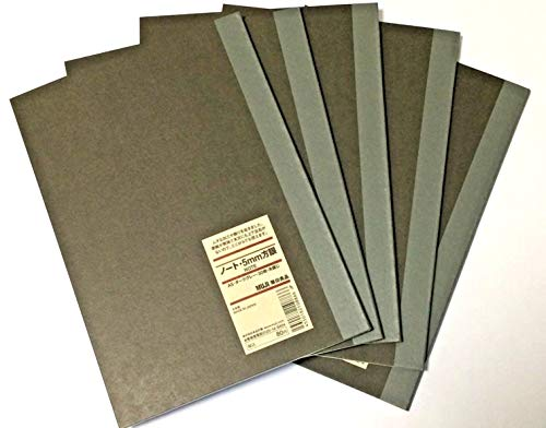 MUJI Notebook A5 5mm Grid 30sheets Pack of 5 Books Dark Gray