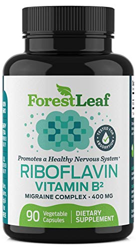 Vitamin B2 Riboflavin, 400mg – 90 Capsules – Promotes Healthier Blood, Nervous System and Helps Boost Energy and Metabolism – Non-GMO, Gluten Free Daily Dietary Supplement – by ForestLeaf
