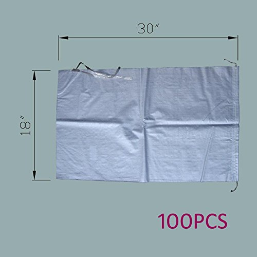 MTB Sand Bags 18''x30'', Empty White Woven Polypropylene w/Ties, UV Protection, 100Pack (Also Sold in 10Pack / 50Pack. 14''x26'' / 17''x27'' Available)