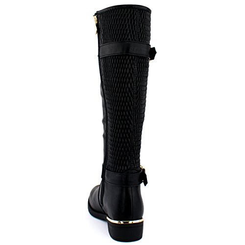 Premier Standard Damen Quilted Side Zip Kniehohe Flat Reitstiefel - Trendy High Heel Schuh - Sexy Kniehoher Stiefel - Bequeme Easy Heel Premier Schwarz Pu G *
