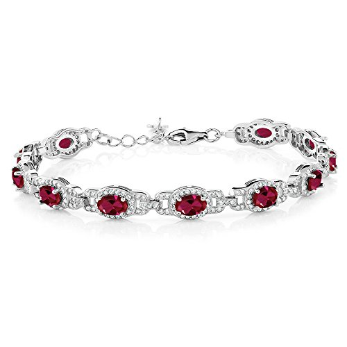(11.08 Ct Oval Created Ruby 925 Sterling Silver Bracelet With 1 Inch)