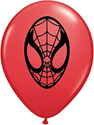 Pioneer Balloon Company 100 Count Spider-Man Face Latex Balloons, 5, Red by Pioneer Balloon Company
