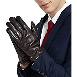 VEMOLLA Luxury Men Touchscreen Genuine Leather Gloves Cashmere Lining for Texting Driving Winter BROWN S