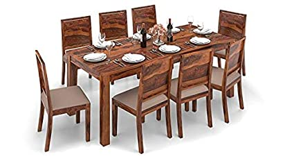 0efcdd165dc Image Unavailable. Image not available for. Colour  Ganpati Art Sheesham Wood  8 Seater Dining Table with Cushioned Chairs