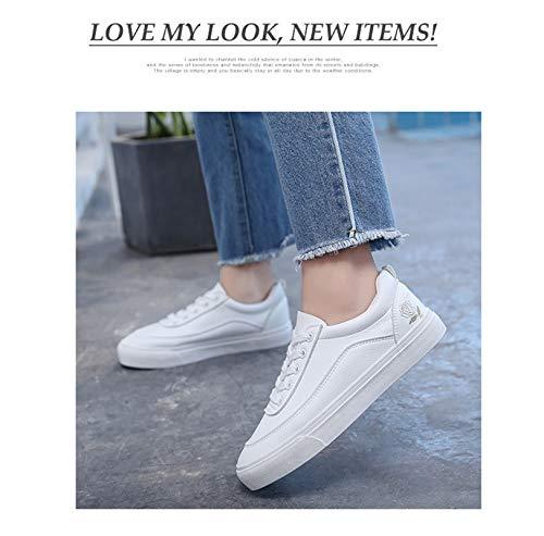 Zapato Coreana 2019 Nuevo Estudiante Chica Cuero Pequeño Fondo Primavera Transpirable Cien Fundación Zapatos Plana Blanco Lxjl Casual 37 Versión ExYqEZF