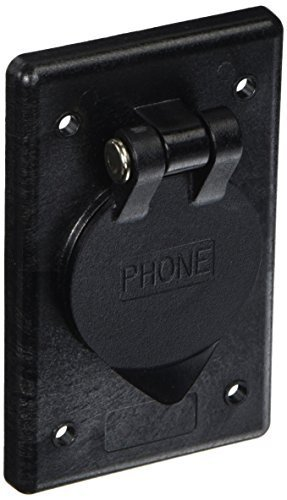Hubbell Wiring Systems PH6597 Polycarbonate Rectangular Phone Outlet with Gasketed and Spring-Loaded Lift Cover, Black