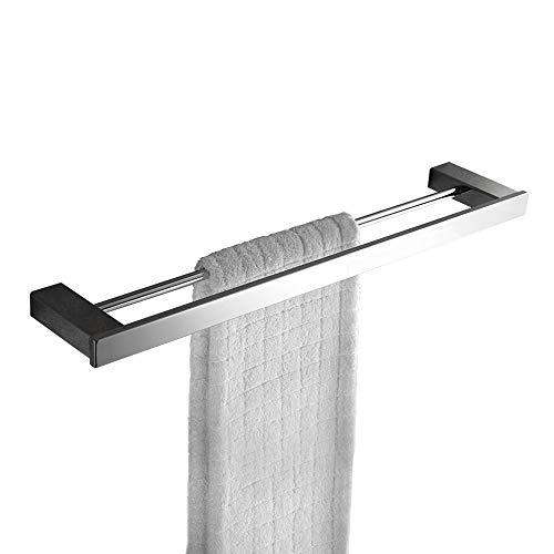 Double Towel Bar Rack Shelf 24 Inch Rail Set Bathroom Towel Holder Kitchen Organizer Storage Wall Mount Stainless Steel Holtel Heavy Duty Modern Square Polished Chrome MARMOLUX ACC (Bar Set Double Towel)