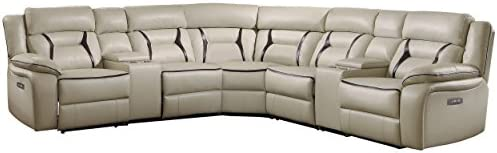 Homelegance Amite 119″ x 119″ Leather Gel Power Reclining Sectional Sofa