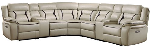 "Homelegance Amite 119"" x 119"" Leather Gel Power Reclining Sectional Sofa, Beige"