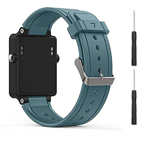 (Bossblue Cyan Replacement Band for Garmin Vivoactive, Silicone Replacement Fitness Bands Wristbands with Metal Clasps for Garmin vivoactive GPS Smart Watch)