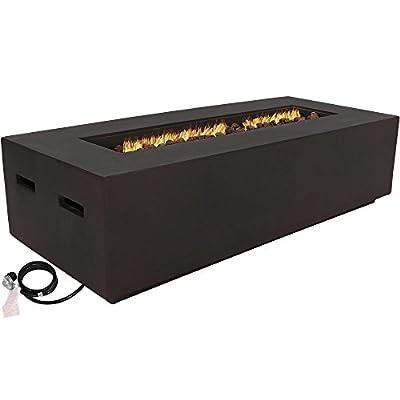 Sunnydaze Propane Gas Fire Pit Table - Rectangular Outdoor Fireplace - Portable Fiberglass Firepit with Lava Rocks - Large 56 Inch 55,000 BTU - Brown