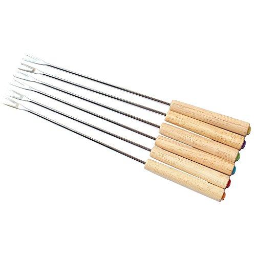 Set of 6 Stainless Steel Fondue Forks Wood Handle Heat Resistant 9.5