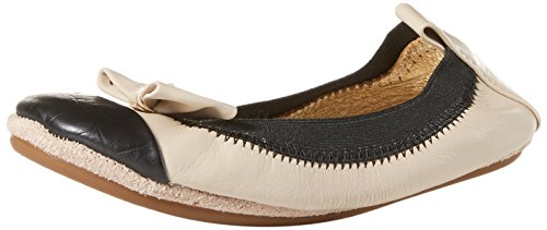 Yosi Samra Girl's Two Tone Ballet Flat with Bow, Fawn/Black, 12 M US Little Kid