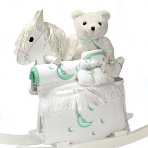 White Rocking Horse Baby Gift Set - Includes Stuffed Bear & Layette in Gender Neutral Green Accents by Gifts to Impress