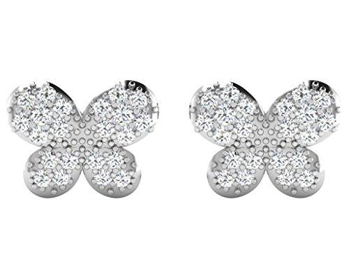 Libertini Boucle d'oreille argent 925 plaque or Rose serti de Diamant en form...