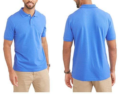 George Stretch Pique Polo Shirt - No-Roll Collar - Men's Blue Size 3XL (54-56)