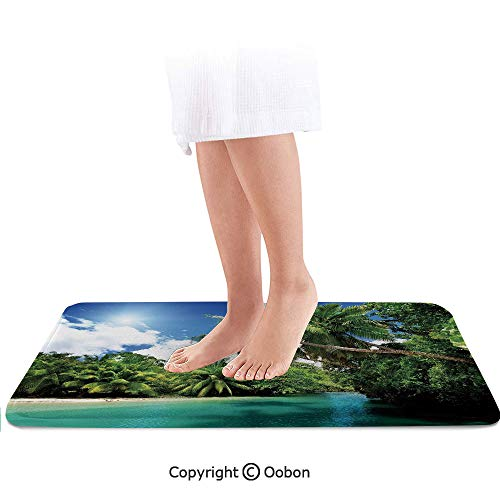 - Jungle Bath Mat,Mahe Island Seychelles Lake and Palms with Clear Morning Sky Forest Vacation,Plush Bathroom Decor Mat with Non Slip Backing,36 X 24 Inches,Aqua Green White
