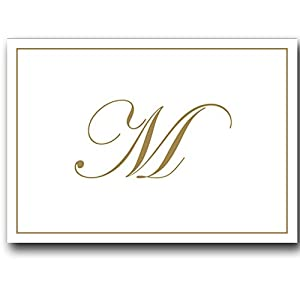 gold embossed initial note cards letter m boxed set of 8 cards and envelopes - Initial Note Cards