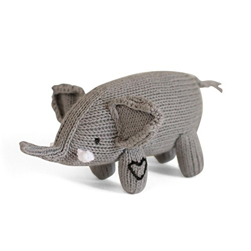 Estella Hand Knitted Elephant Rattle Baby Toy, Organic Soft Toys for Babies - Grey