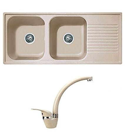 Lavello cucina ad incasso completo di rubinetto monocomando, misura ...