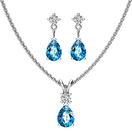(Sterling Silver Jewelry Set for Women Pear shaped 7x5mm Swiss Blue Topaz and 3mm Natural White Topaz Pendant Necklace and Matching Pear Shaped Swiss Blue Topaz & White Topaz Stud Earrings)