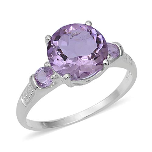(Statement Ring Rose De France Amethyst 925 Sterling Silver Round Jewelry for Women Gift Size 8 Ct 2.9)