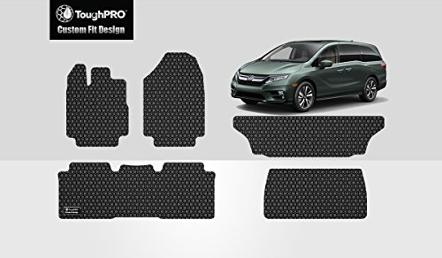 (ToughPRO Floor Mats 1st + 2nd + 3rd Row + Cargo Mat Compatible with Honda Odyssey - All Weather - Heavy Duty - (Made in USA) - Black Rubber - 2018, 2019, 2020)