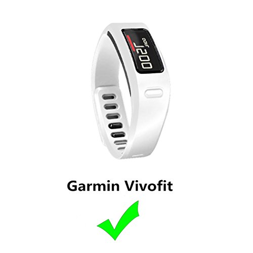Replacement Fitness Wristband Band for Garmin Vivofit Replacement Strap Bands S L Small Lager Size,NOT for Garmin Vivofit 2/3/JR/HR(No Tracker) (White, L)