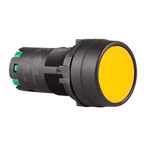120V 8A IP66 Flush Head Push in Wiring 22mm Maintained pushbutton Switch Yellow CP2B-A1E10Y 1NO Unibody