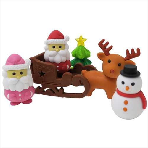 IWAKO Christmas Pencil Erasers Blister Pack BRI047 Japanese Collectible Puzzle Erasers