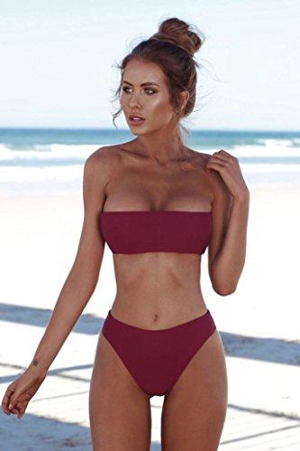 a fascia bikini brasiliano Vino push fascia Bikini up per bagno donna da Costume bikini Rosso2 Elecenty 8FxzvF